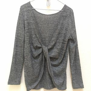 Gray twisted front sweater